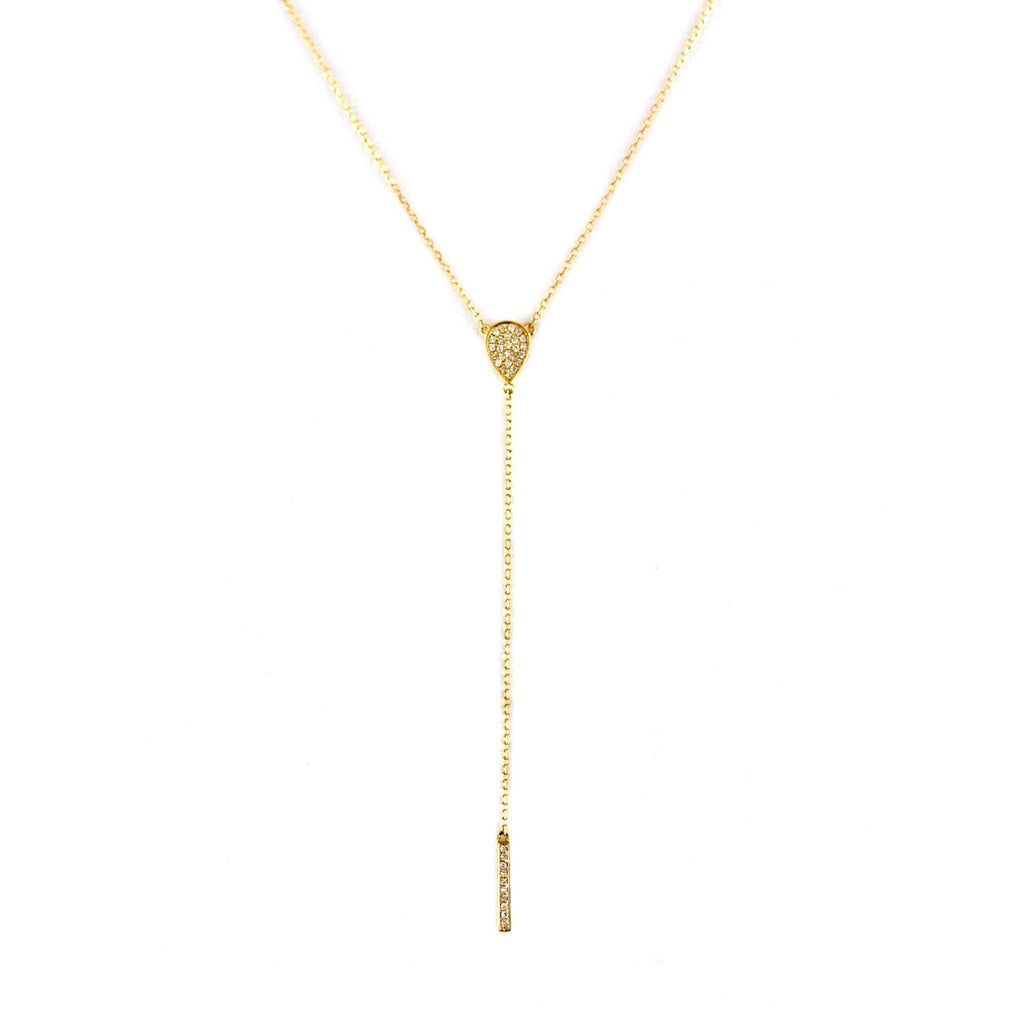 0.08ct Pavé Diamonds in 14K Gold Pear & Bar Drop Lariat Necklace