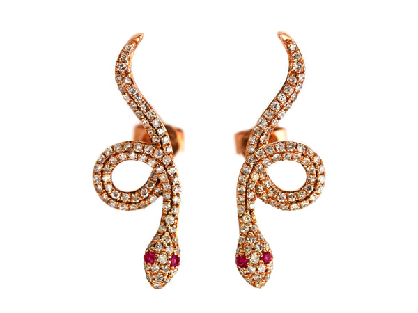 0.51ct Pavé Ruby & Diamonds in 14K Gold Snake of Slytherin Motif Earrings