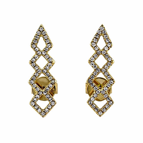 0.23ct Pavé Round Diamonds in 14K Gold Double Geometric Spike Stud Earrings