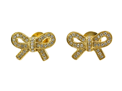 0.15ct Pavé Round Diamond in 14K Gold Bow Ribbon Stud Earrings