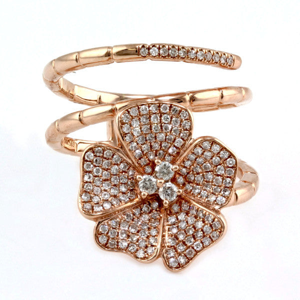 0.48ct Pave Round Diamond in 14KGold Flower Wrap Ring