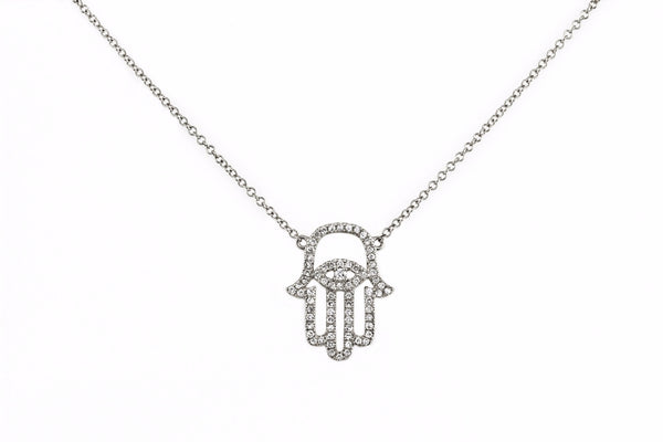 0.23ct Pavé Diamond in 14k Gold Hamsa Hand of Fatima Charm Necklace