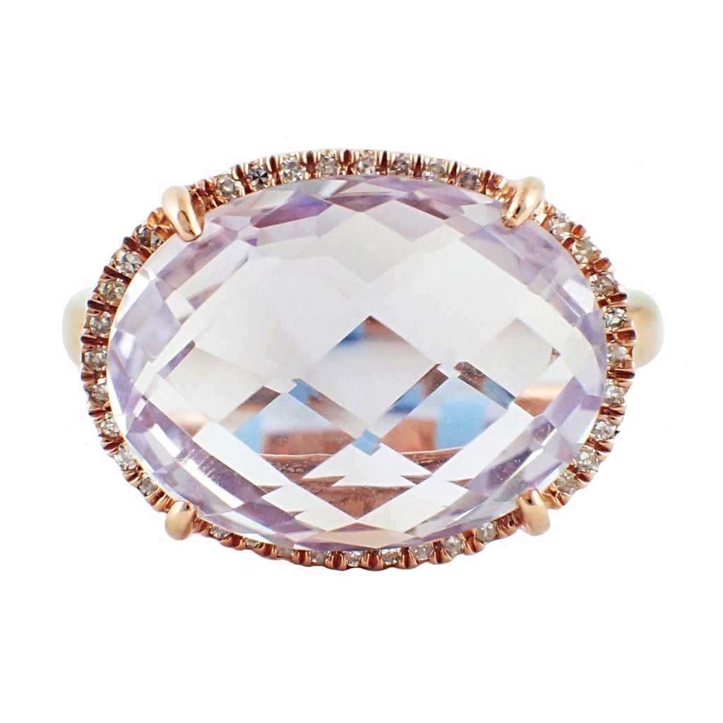 8.85tcw Faceted Cabochon Pink Amethyst & Diamonds in 14K Gold Cocktail Ring