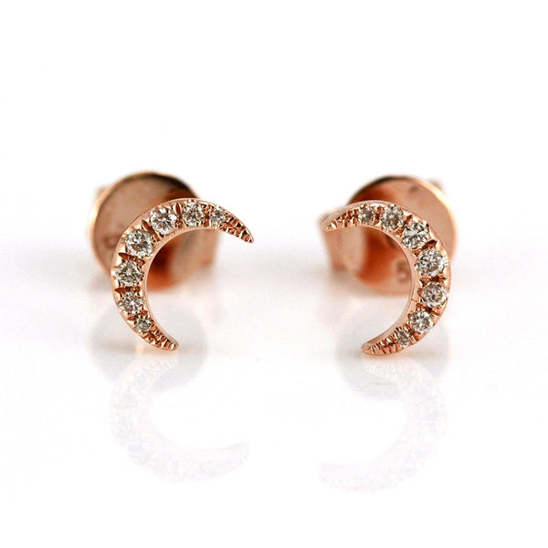 0.06ct Pavé Round Diamonds in 14K Gold Mini Crescent Moon Stud Earrings