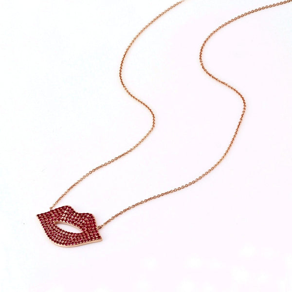 1.35ct Pavé Red Ruby in 14K Gold Sexy Lips Pendant Necklace