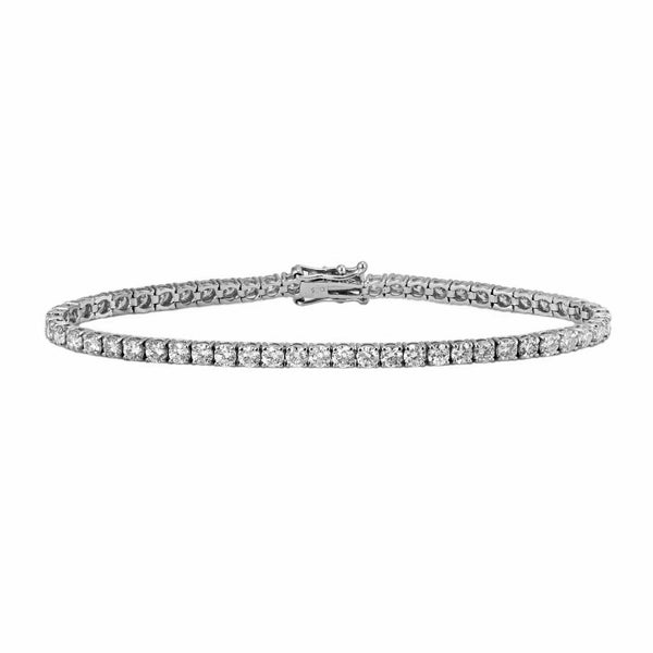 4.00ct Round Diamonds in 18K White Gold 2.3mm Box Tennis Bracelet - 7""