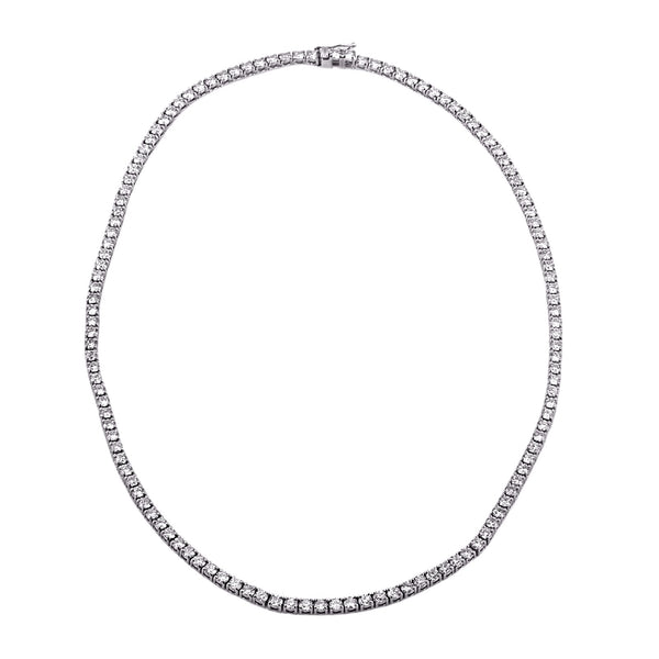 9.56tcw Round Diamonds in 18K White Gold Tennis Necklace 16.5""