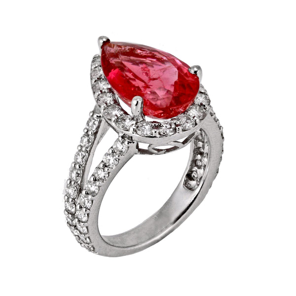 6.36tcw Pear Raspberry Pink Tourmaline & Diamonds in 14K White Gold Cocktail Anniversary Ring