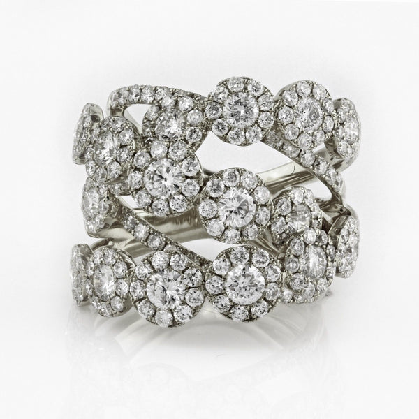 3.41ct Round Diamonds in 14K Gold Overlapping Floral Anniversary Ring
