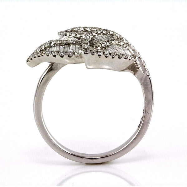 0.86tcw Pave Diamonds in 14K White Gold Leaf Trio Ladies Ring
