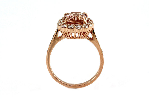 3.56tcw Oval Morganite & Diamonds in 14K Rose Gold Engagement Halo Ring