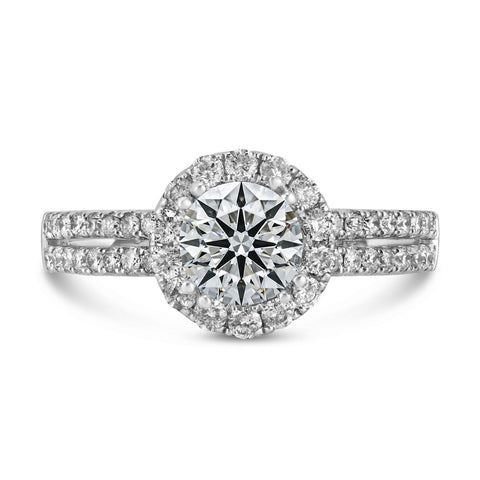 0.54ct Pavé Side Diamonds in 14K White Gold Semi-Mount Halo Ring