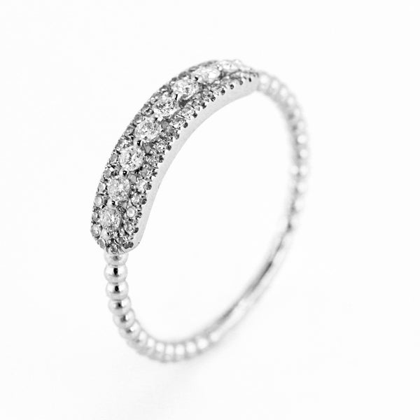 0.27ct Pavé Round Diamonds in 14K Gold Skinny Beaded Band ID Ring