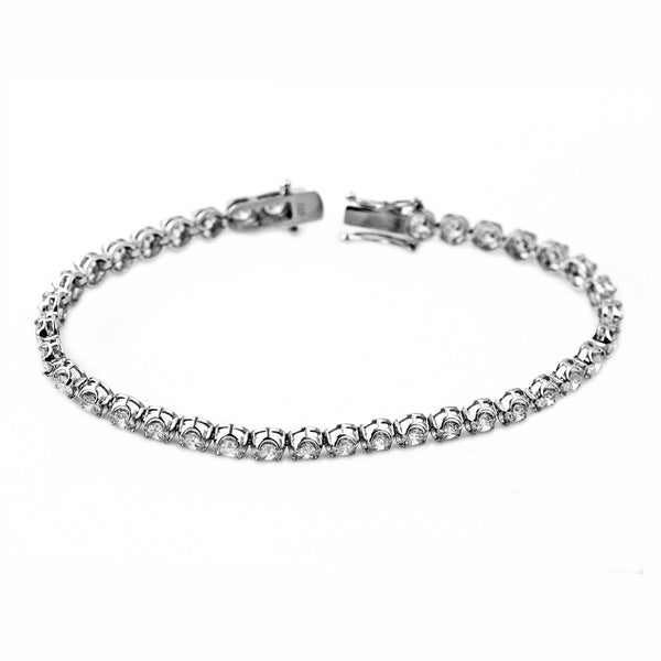 5.00ct Round Diamonds in 18K White Gold 3mm Tennis Bracelet - 7""