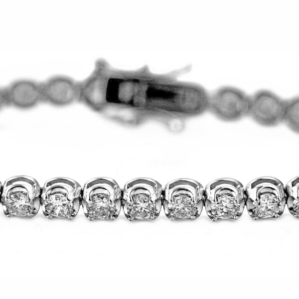 6.00ct Round Diamonds  in 18K White Gold 4.5mm Tennis Bracelet - 7""