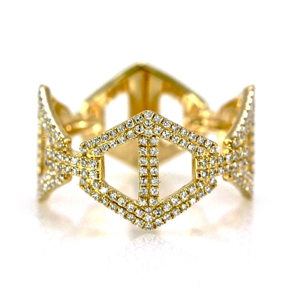 0.50ct Pavé Round Diamonds in 14K Gold Rhombus Anchor Link Band Ring