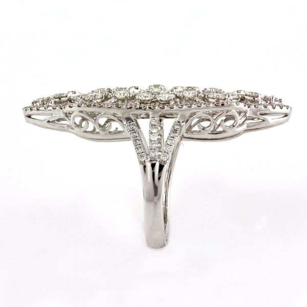 3.24tcw Round Diamond in 18K White Gold Heart Filigree Knuckle Ring