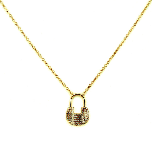 0.22ct Pavé Round Diamonds in 14K Vintage Padlock Design Necklace