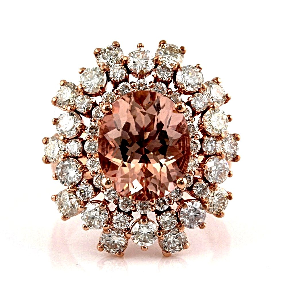7.66tcw Oval Morganite & Diamonds in 14K Rose Gold Anniversary Ring