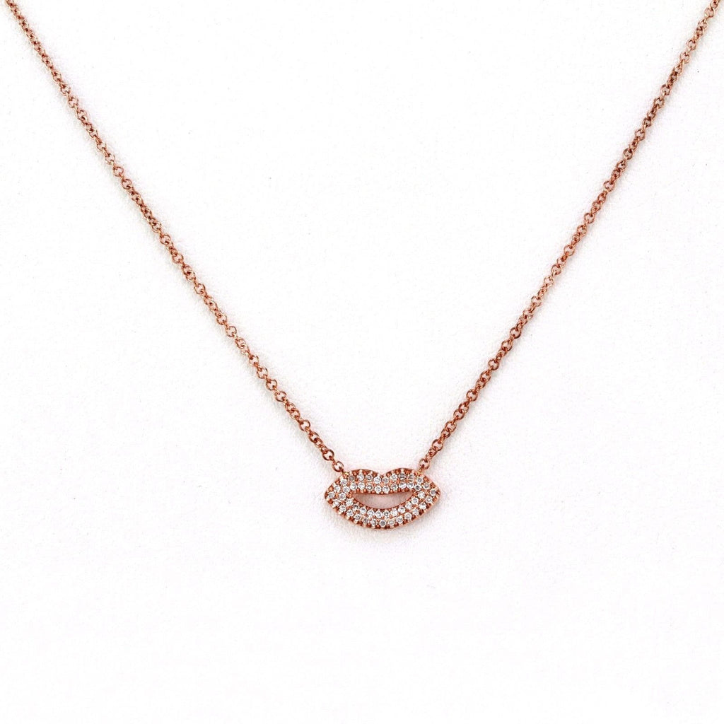0.10ct Pavé Round Diamonds in 14K Gold Sexy Lips Pendant Necklace