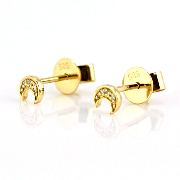 0.02ct Pavé Round Diamonds in 14K Gold Mini Crescent Moon Stud Earrings