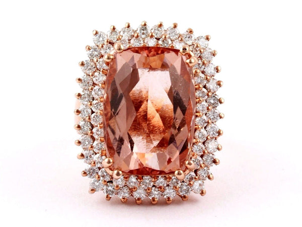 17.64ct Rectangular Morganite & Diamonds in 14K Rose Gold Cocktail Ring