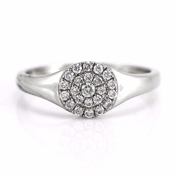 0.25ct Pavé Round Diamonds in 14K Gold Signet Band Ring