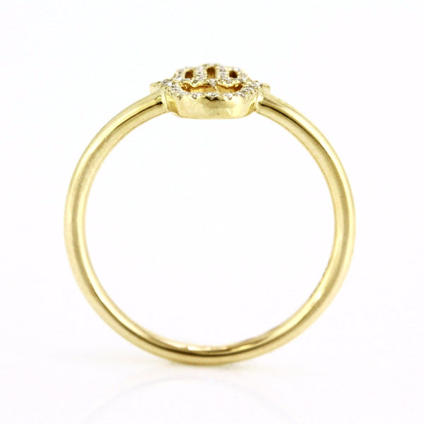 0.11ct Pavé Round Diamonds in 14K Gold Hamsa Ring