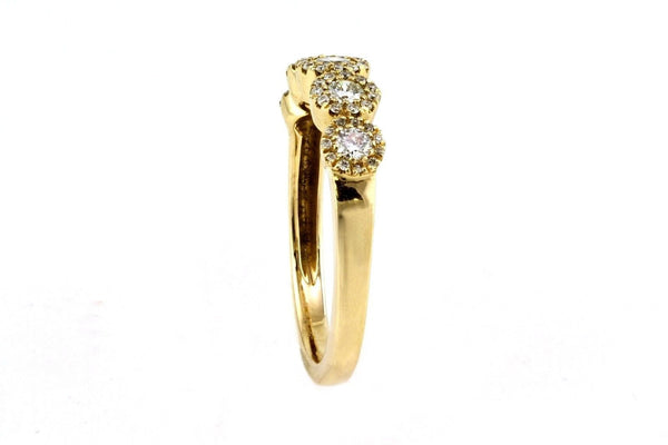 0.48ct Round Diamonds in 14K Yellow Gold Five Rows Halo Ring