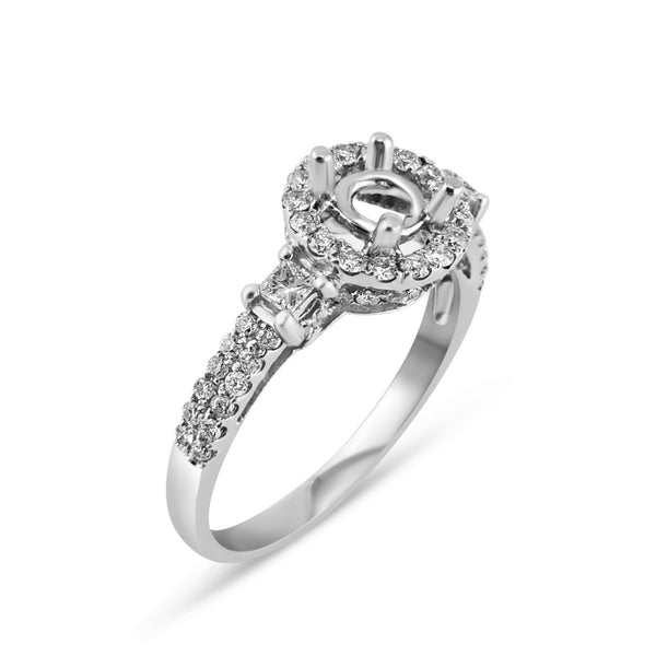 0.65ct Pavé Side Diamonds in 14K White Gold Semi-Mount 3Stone Halo Ring