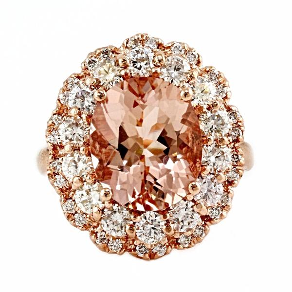 6.29tcw Oval Morganite & Diamonds in 14K Rose Gold Wedding Engagement Ring