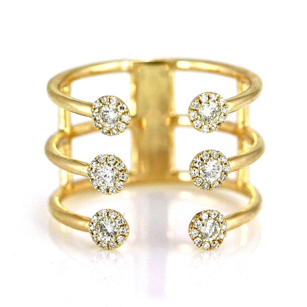 0.38ct Pavé Round Diamonds in 14K Gold Trio Band Cuff Ring
