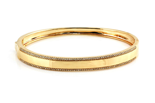 0.40ct Pavé Diamond Edge in 14K Gold Bangle Bracelet - 6.5""