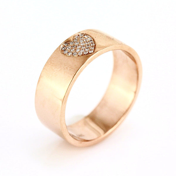 0.07ct Pavé Round Diamonds in 14K Gold Heart Engraved Inlay Band Ring