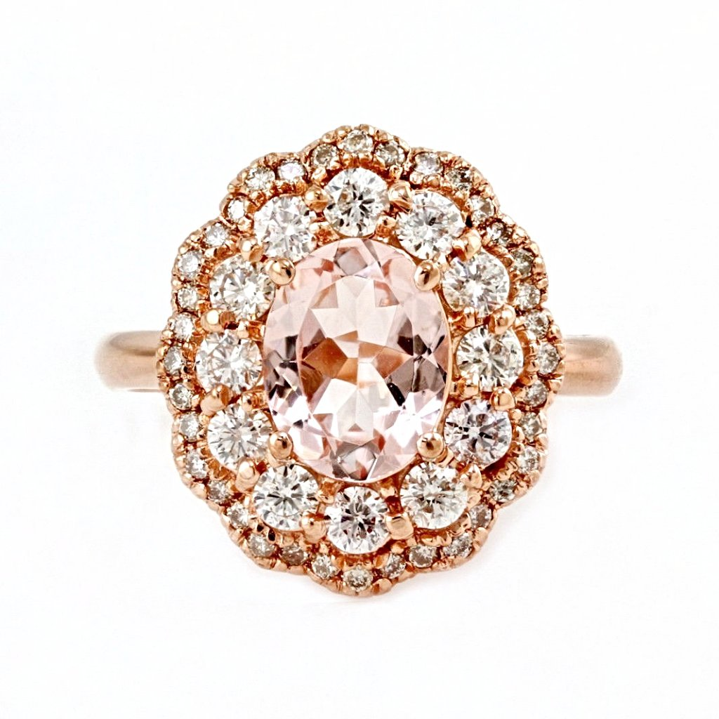 2.43tcw Oval Morganite & Diamonds in 14K Rose Gold Wedding Engagement Ring