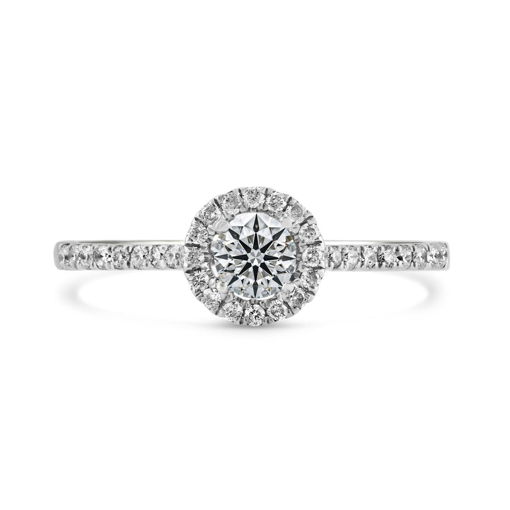 0.21ct Pavé Side Diamonds in 14K White Gold Semi-Mount Halo Ring