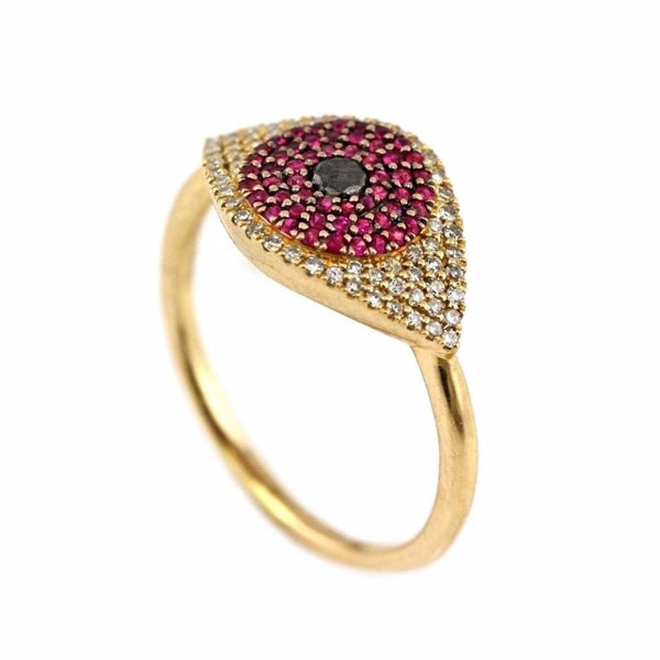 0.41tcw Pavé Diamond & Ruby in 14K Yellow Gold Evil Eye Statement Ring