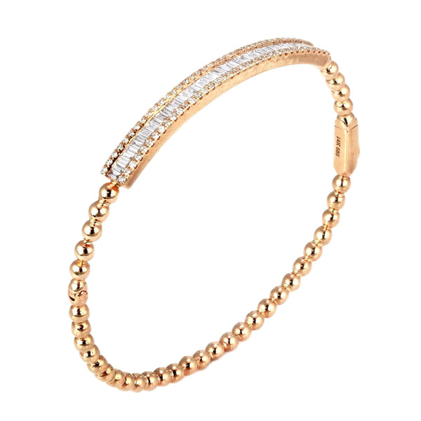 1.09ct Pavé Round Diamond 14K Gold Ribbed ID Bangle Bracelet - 6.5""