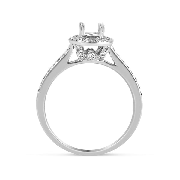 0.26ct Pavé Side Diamonds in 14K White Gold Semi-Mount Halo Ring
