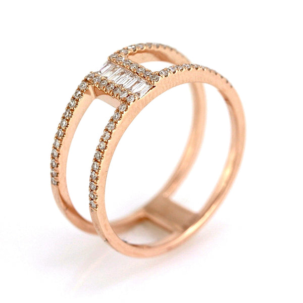 0.29ct Channel Pavé Set Diamonds in 14K Gold Double Band Ring
