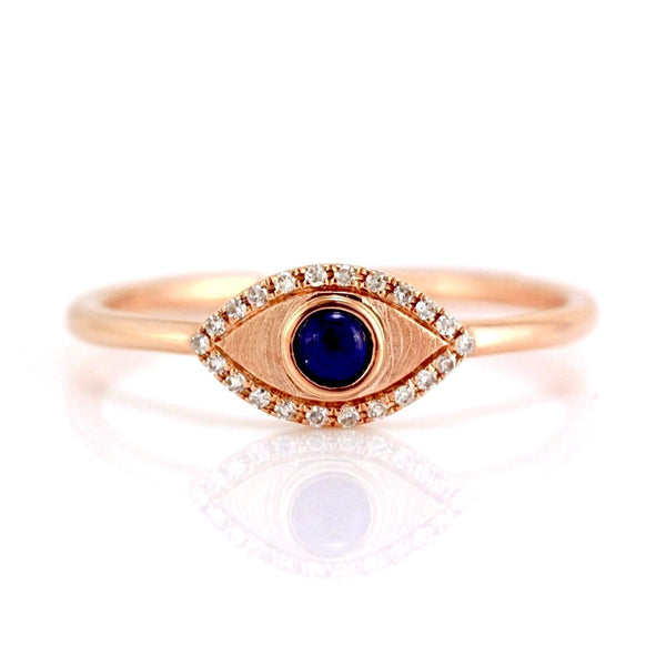 0.15ct Lapis Lazuli & Diamonds in 14K Gold Evil Eye Statement Ring