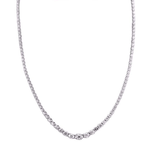 6.50tcw Graduated Round Diamonds in 18K White Gold Tennis Necklace 16.5""