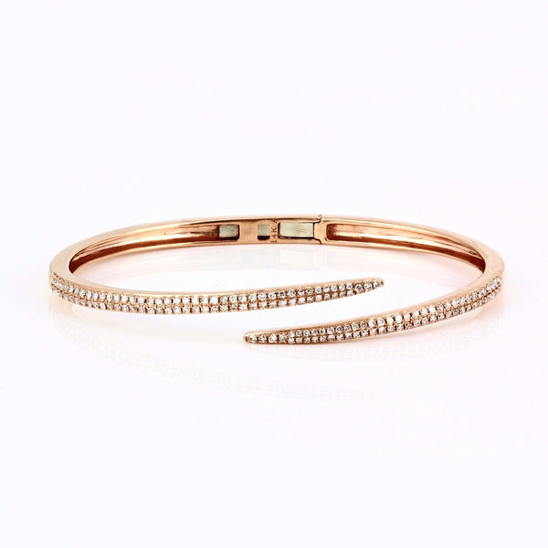 0.91ct Pavé Diamonds in 14K Gold Spike Bangle Cuff Bracelet - 6.5""