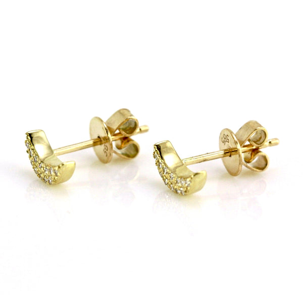 0.08ct Pavé Round Diamonds in 14K Gold Mini Half Moon Stud Earrings