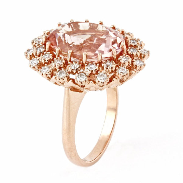 10.36tcw Oval Morganite & Diamonds in 14K Rose Gold Wedding Anniversary Ring