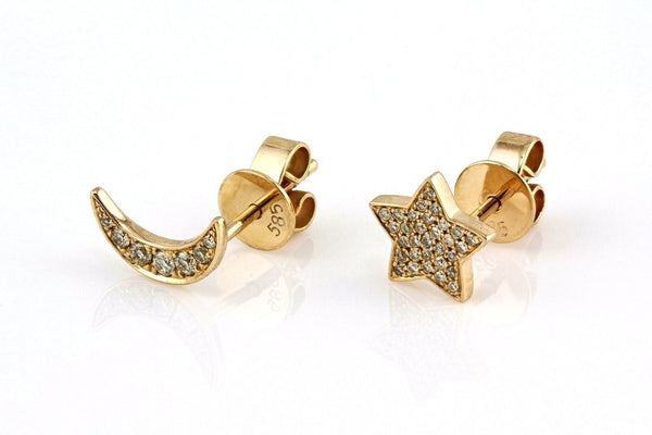 0.12ct Micro Pavé Diamonds in 14K Yellow Gold Mini Crescent Moon & Star Stud Earring