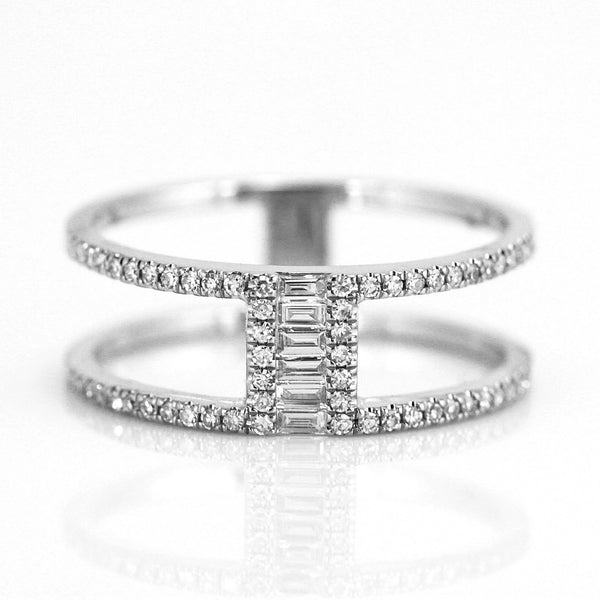 0.29ct Baguette & Round Diamonds in 14K Gold Bridge Double Band Ring