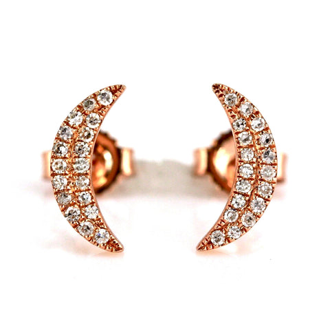 0.09ct Pavé Round Diamonds in 14K Gold Mini Crescent Moon Stud Earrings