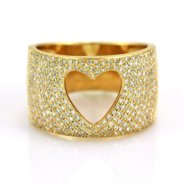 0.91ct Pavé Round Diamonds in 14K Gold Hollow Heart Inlay Band Ring
