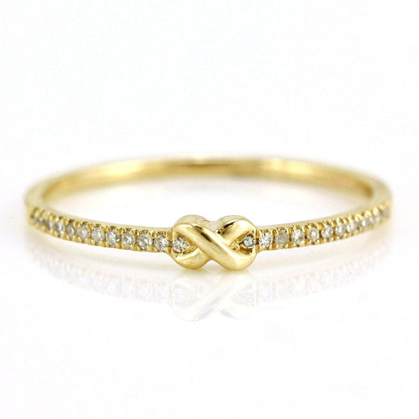 0.06ct Pavé Round Diamonds in 14K Gold Skinny Infinity Knot Band Ring